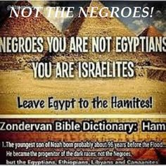 Negroes = Shemites Egyptian = Hamites HAMITES (modern day 'Africans') SOLD SHEMITES (modern day 'African Americans') into slavery = Trans Atlantic Slave Trade. Therefore, so called Black people DID NOT sell THEIR OWN PEOPLE into slavery. Israelites could pass for Egyptians because of both being a dark (Black) color. If so called Jesus, Moses, and Joseph could blend in with and be mistaken as Egyptians AND WE KNOW THEY WERE HEBREWS, THEN THAT'S ALL THE PROOF NEEDED THAT REAL HEBREWS ARE…