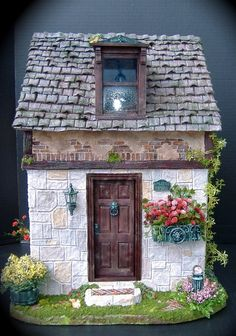 dollhouse with stonework, realistic aged appearance, and landscaping details    #dollhouse #miniatures