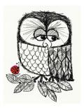 Retro Black and White Owl with Ladybug Pôsteres