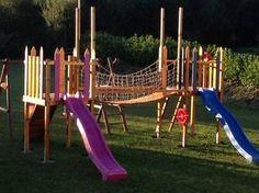 Cabane Enfant, Pont souple en bois creation de A à Z d'une cabane de jardin