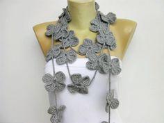 crochet lariat flower scarf