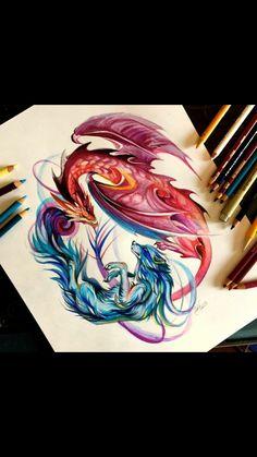 Loup et Dragon Fantasy Dragon, Fantasy Art, Fantasy Paintings, Colorful Drawings, Cool Drawings, Animal Drawings, Pencil Drawings, Dragon Wolf, Dragon Artwork