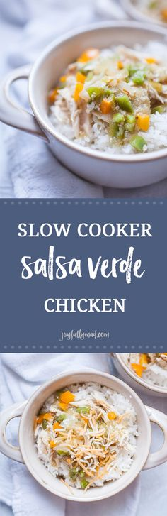 Slow Cooker Salsa Verde Chicken is an easy weeknight slow cooker meal the whole family will love! With just five simple ingredients of salsa verde, chicken, bell peppers, onions and rice, it's ready in a matter of hours and will take the stress out of dinnertime on a busy evening.