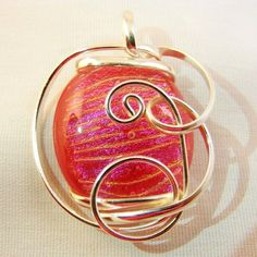 Pendant Wire-Wrapped Raspberry Red Dichroic Art-Glass Holiday Christmas Gift #BullockDorchester #Pendant