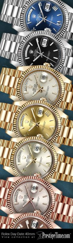 View the Rolex Day-Date 40mm Collection at http://www.prestigetime.com/items.php?search=22823 #Rolex #RolexDayDate #GoldWatches #RolexWatches