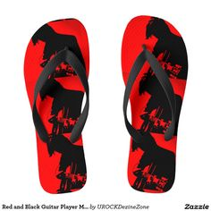 Red and Black #Guitar Player #Music Flip Flops  #zazzle