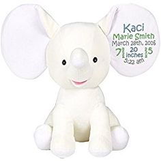 b42f5989352 Personalized Stuffed White Elephant with Embroidered Birth Block in Light  Blue
