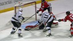 Antti Raanta makes a toe save on Anze Kopitar.  #goalie #saves #kopitar #lakings #blackhawks