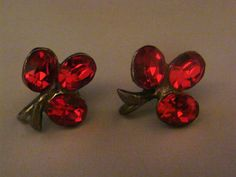 Vintage red rhinestone or crystal clover flower earrings antique silver setting costume jewelry on Etsy, $6.80