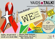 ACARA TALKSHOW 2013 - YAIDS TALK. Yayasan Aids Indonesia (YAIDS) merupakan sebuah organisasi nirlaba (non profit) yang didirikan untuk mewujudkan kepedulian terhadap masalah-masalah yang berkaitan dengan penanggulangan HIV/AIDS, khususnya di kalangan usia produktif angkatan kerja. - See more at: http://www.acaraapa.com/event/1253_acara_talkshow_2013__yaids_talk#sthash.AV8Fh5c1.dpuf