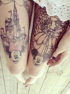 Disney thigh tattoos - Mickey mouse and fairytale lovers, we have more Disney tattoos for your tattoo inspiration. #TattooModels #tattoo