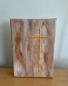 Textured gold cross acrylic painting by Kim Mlyniec Buy it today. Religious Paintings, Cross Paintings, Religious Gifts, Religious Art, Texture Art, Texture Painting, Canvas Crafts, Canvas Art, Christian Artwork