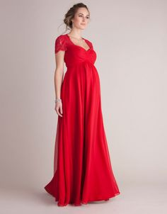 Make an unforgettable entrance at your next black tie event with Seraphine's sensational Scarlet Silk & Lace Maternity Evening Gown. Maternity Wedding Guests, Maternity Gowns Formal, Beautiful Maternity Dresses, Dresses Elegant, Formal Dresses For Weddings, Formal Evening Dresses, Formal Gowns, Pregnant Party Dress, Pregnant Dresses