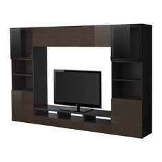 BESTÅ TV storage combination/glass doors - black-brown/Tofta high gloss/brown clear glass - IKEA  734$