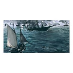#battle of USS Kearsarge and CSS #alabama by Edouard #manet #photo #greeting #card #art #painting #cards