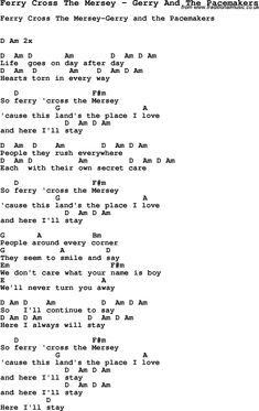 Song Ferry Cross The Mersey by Gerry And The Pacemakers, with lyrics for vocal performance and accompaniment chords for Ukulele, Guitar Banjo etc.