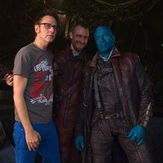 #gotgpicoftheday On the bridge of the Eclector with @thejudgegunn & @michael_rooker. Directing a movie is a long and often lonely experience. It helps to have two of the people you're closest to along for the ride.