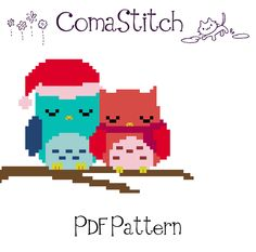 Christmas Owl Couple pattern by ComaStitch
