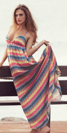 PilyQ 2013 Razzle Dazzle Kyla Long Dress southbeachswimsuits.com  a colorful maxi is another summer staple in my book! #SouthBeachSwimsuits