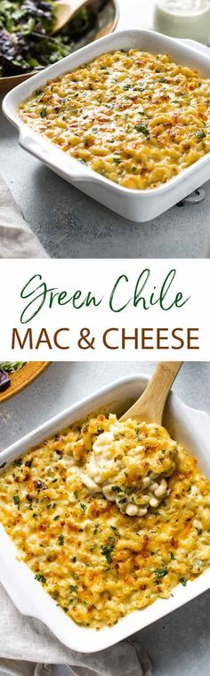 This green chili mac and cheese is the ultimate comfort food! The creamy cheese sauce is infused with green chile flavor - so comforting and so good!