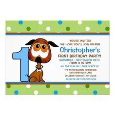 Puppy Boy's First Birthday Party Invites