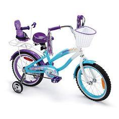 Avigo 16 inch Journey Girls Bike - Girls Even has a seat for Emily's doll. Little Girls Bike, Girl Dolls, Baby Dolls, Mountain Bikes For Sale, Fairy Birthday Party, 5th Birthday, American Girl Accessories, Journey Girls, Toys R Us