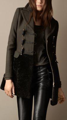 Duffle-coat avec jupe en shearling