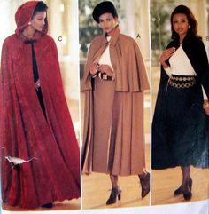 Butterick 3084 Sewing Pattern Long Cape Capelet Skirt Hood Sz 12-14-16 Essence #Butterick #EssenceCollection