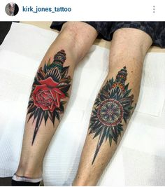 American traditional dagger tattoos by Kirk Jones