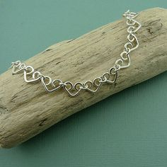 Heart Bracelet  sterling silver handmade chain by TheZenMuse, $110.00