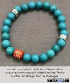 Yoga Beaded Bracelets. Men's Women. Luxury Handmade Jewelry. Law of Attraction. LOA. Healing Energy Prayer Mantra Spiritual Mala. Turquoise Cinnabar. Om Mani padme Hum.