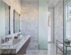 jon vaccari design - Carrara marble - Master Bathroom