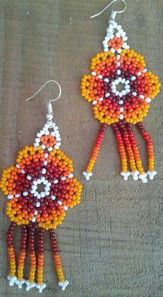 Mexican Huichol Art Beaded Flower Earrings length: 2.5(7cm) width: 1(3cm)
