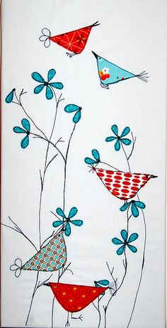 Quilt block idea.  Applique the triangles and petals, embroider the beaks, tails, and stems.