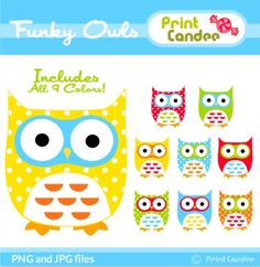 Funky Owls - BUY 2 GET 2 FREE - Digital Clip Art - Personal and Commercial Use - whimsical owls mod retro cute colorful Owl Themed Parties, Owl Birthday Parties, Birthday Banners, Owl Classroom, Classroom Ideas, Owl Clip Art, Christmas Tags Printable, Whimsical Owl, Owl Crafts