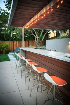 Danville - contemporary - Patio - San Francisco - Envision Landscape Studio - Bernadette Cummins Bowler - Re-Wilding Bar Seating, Outdoor Seating, Outdoor Dining, Outdoor Spaces, Outdoor Decor, Modern Outdoor Kitchen, Outdoor Kitchen Bars, Outdoor Bars, Backyard Bar