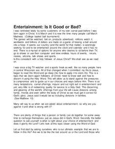 Entertainment For Christians, Is It Good Or Bad by spiritntruth via slideshare www.nopews.blogspot.com