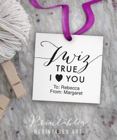 Twiz True I Heart You Tags // Editable, DIY Digital Printable PDF // 2 inch Square Gift Tag is Easy to Download & Customize  This sheet will be formatted for your home printer and may be printed as many times as you like on cardstock or your favorite art paper.  The design features TWIZ TRUE, I HEART YOU tags. This is a do it yourself, EDITABLE pdf -- you can customize it by just clicking in the indicated fields and typing in Adobe Reader. Tags have a transparent backg...