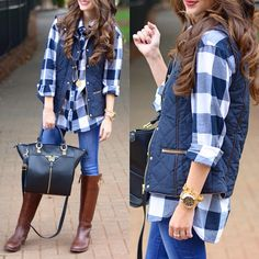Click the photo to shop the look | Caitlin of Southern Curls and Pearls wearing a J.Crew factory puffer vest, Michael Kors watch, DSW winged satchel, Old Navy plaid flannel, Tory Burch riding boots, and dark skinny jeans | Follow @liketoknowit on Pinterest for more outfit inspiration #liketkit