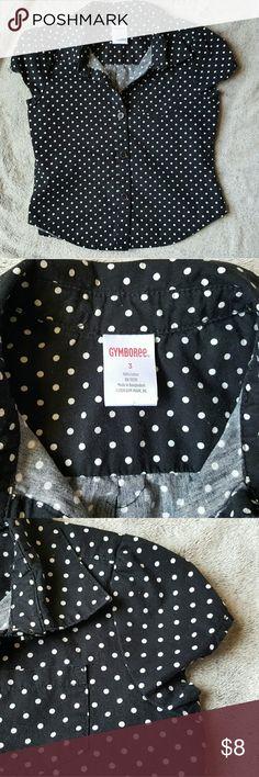 Gymboree black/white polka dot short sleeve top Short cap sleeve button down by Gymboree.  Black with white polka dots.  Full button down.  Used once. EUC, maybe a few strings. Size 3 Gymboree Shirts & Tops Button Down Shirts