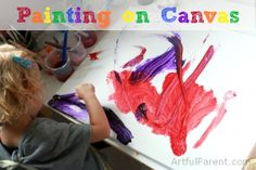 Painting on Canvas for Kids :: It often makes them paint more deliberately. Plus the canvases look great on the wall!