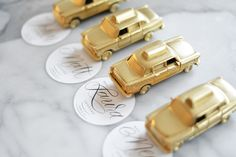 adorable gilded taxi cabs used for escort cards
