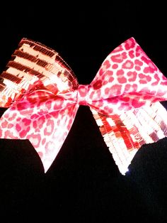 "Large 3"" Pink Sequin and Leopard Rhinestone Competition Cheer Bow"
