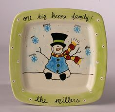personalized ceramic snowman family platter by suzaluna on Etsy, $84.00