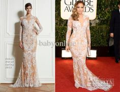 JENNIFER LOPEZ NUDE EMBROIDERED Lace White Champagne Long Sleeves Evening Dress Celebrity Dresses Evening Dresses Online with $235.43/Piece on Babyonline's Store | DHgate.com