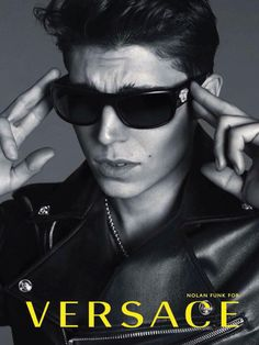 Nolan Gerard Funk for Versace Spring/Summer 2014 Eyewear Campaign - The Fashionisto Versace Eyewear, Versace Sunglasses, Stylish Sunglasses, Versace Men, Gianni Versace, Mens Sunglasses, Donatella Versace, Nolan Gerard Funk, The Fashionisto