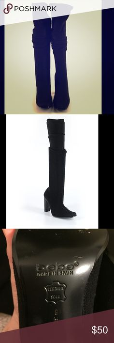 Black Bebe sweater boots! Super cute! These are Bebe boots that go over the knee. They are meant to go over the knee or when scrunched they go below. They are material and leather at the foot. bebe Shoes Over the Knee Boots