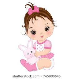 Vector cute baby girl with toy bunny. Baby Cartoon Drawing, Baby Girl Drawing, Girl Cartoon, Cartoon Drawings, Baby Girl Toys, Toys For Girls, Baby Dolls, Cute Little Baby, Cute Baby Girl