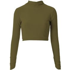 Khaki high neck top (545 MXN) ❤ liked on Polyvore featuring tops, shirts, crop tops, sweaters, high neck crop top, cropped shirts, bodycon crop top, brown striped shirt and cap sleeve crop top