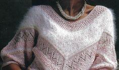Skøn retro strikkeopskrift på feminin bluse fra Hendes Verden nr. 39 1986. Få den gratis strikkeopskrift her.